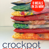 8 crockpot freezer meals in 35 minutes! WIN!