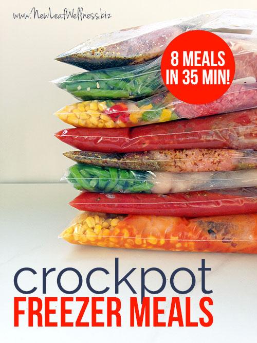 8 crockpot freezer meals in 35 minutes! WIN!