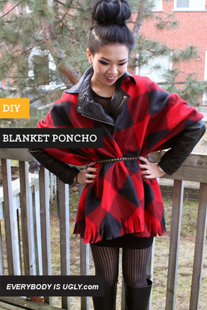 DIY blanket poncho tutorial
