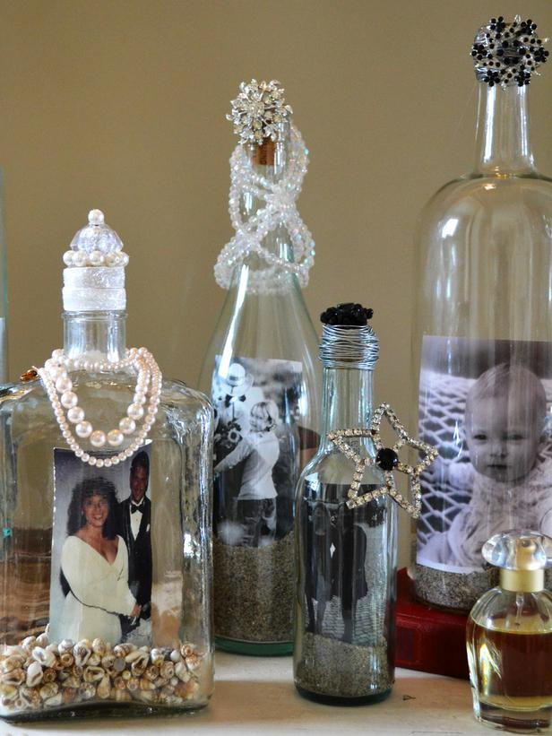 Upcycle wine bottles into photo frames. tutorial