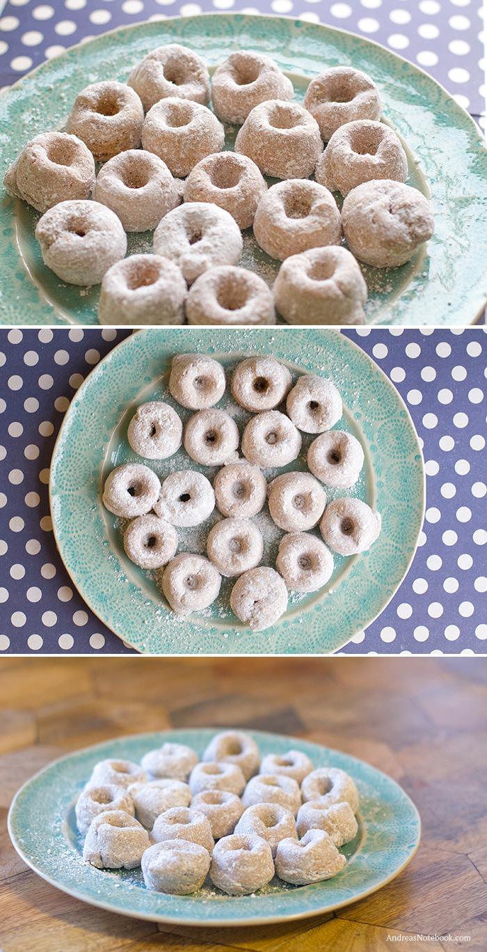 Delicious powdered sugar gluten free doughnuts recipe! doughnuts on a turquoise plate