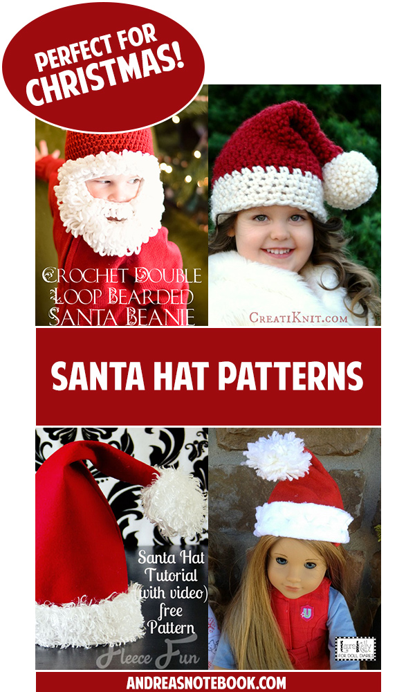 Lots of FREE Santa hat patterns for everyone!