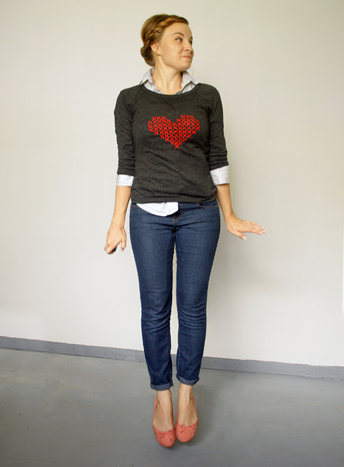 DIY Cross stitch heart sweater tutorial