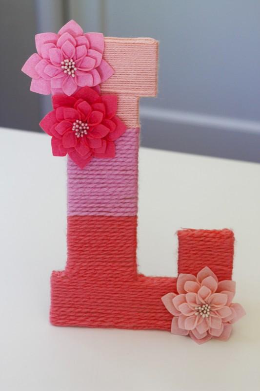 DIY yarn wrapped monogram