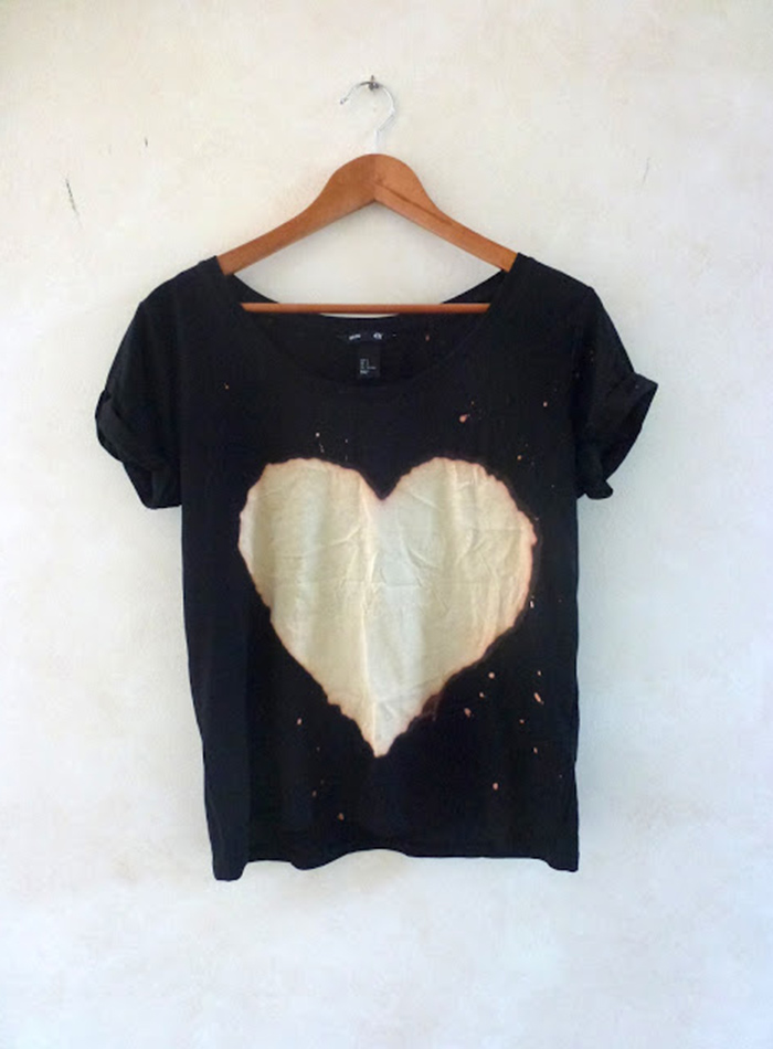 Completely amazing DIY bleach heart shirt tutorial
