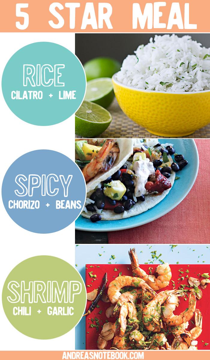 Amazing meal! Cilantro lime rice, spicy chorizo + black beans, garlic + chile shrimp = 5 stars!