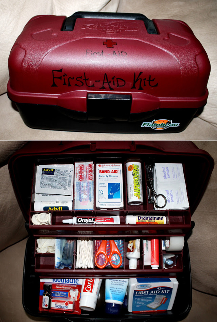 Make your own first aid kit out of a tackle box!