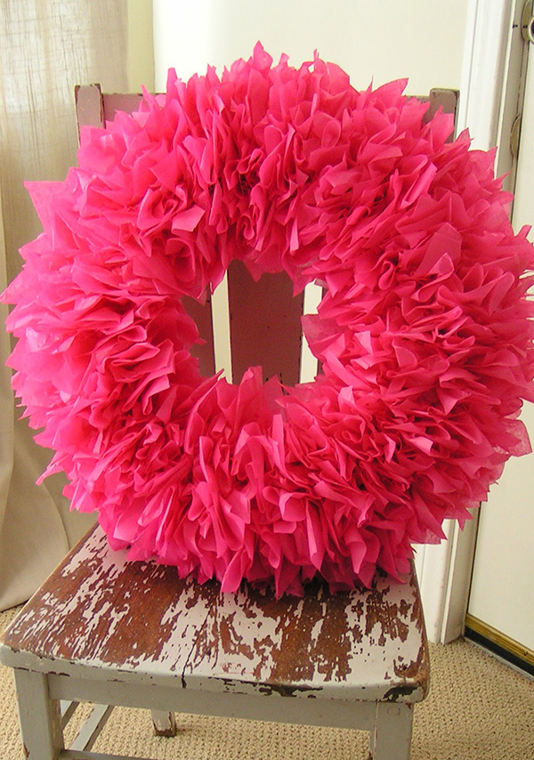 tissue paper wreath tutorial