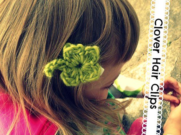 Crochet Clover Hair Clip