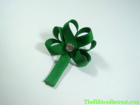 Ribbon Shamrock Hair Clip