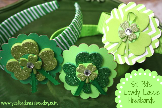 St. Patrick's Day Headbands with Foam/Paper Shamrocks