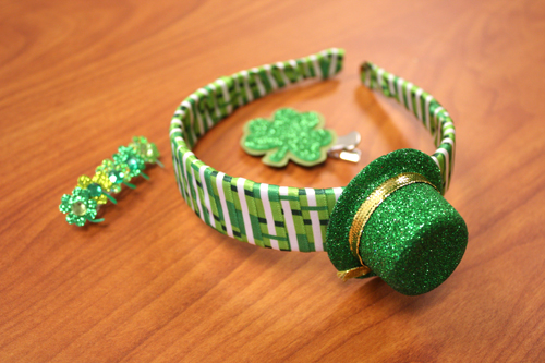 St. Patrick's Day Hat Headband and Clover Clip