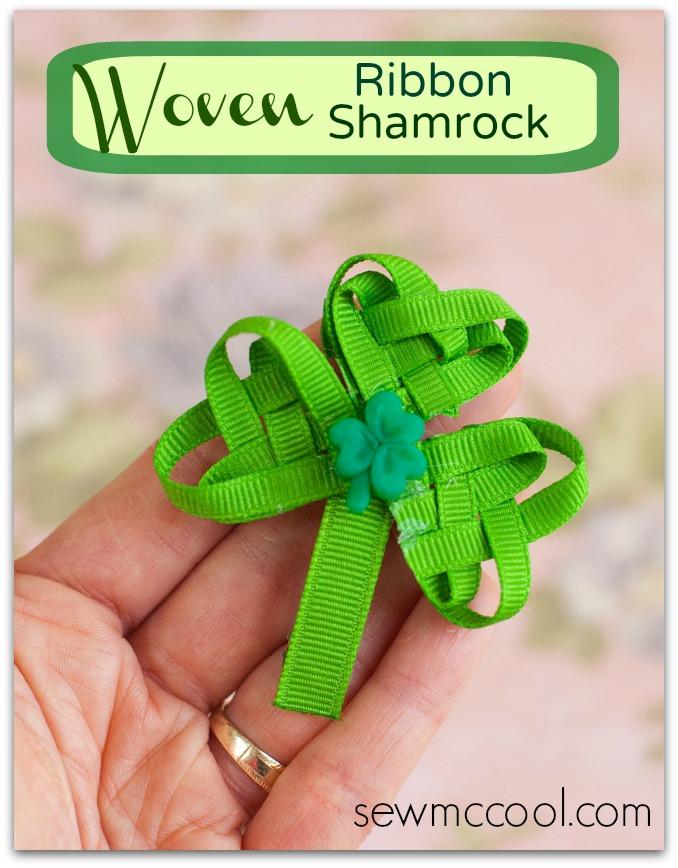 Woven Ribbon Shamrock Barrette