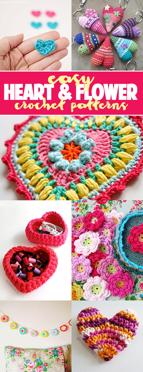 Tons of easy heart and flower crochet patterns