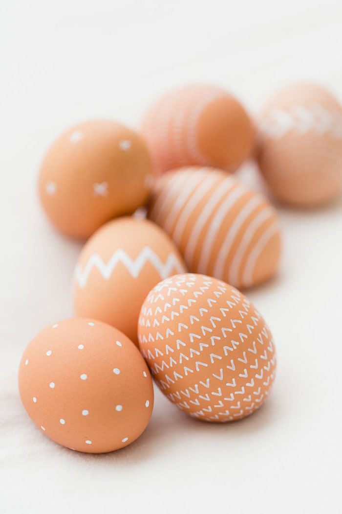 Painted natural colored eggs are beautiful.