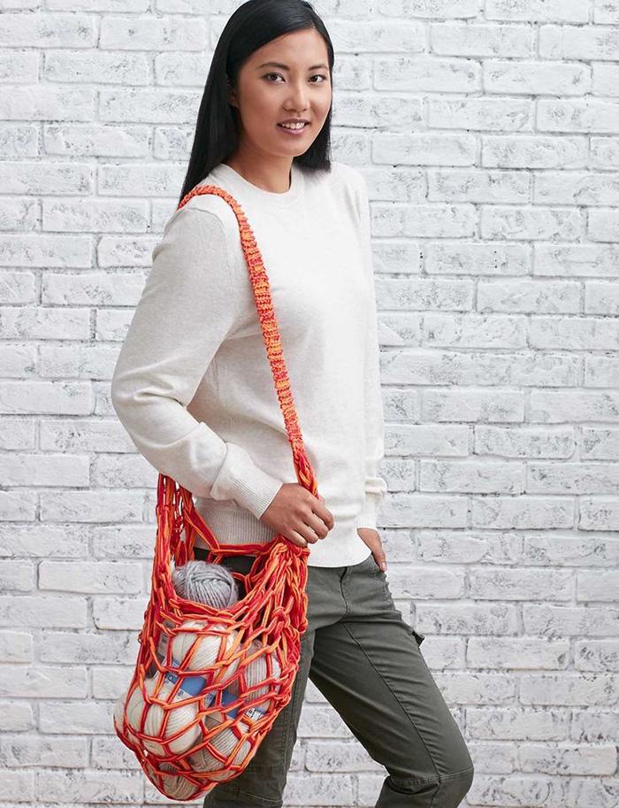 Arm knit market bag tutorial