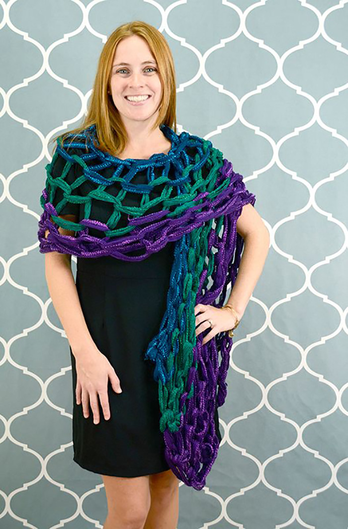 Arm knitted evening wrap tutorial