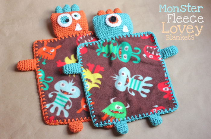 Monster fleece lovey with crocheted head and edges! Free pattern!