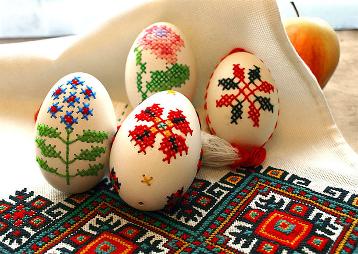 DIY cross stitch eggs