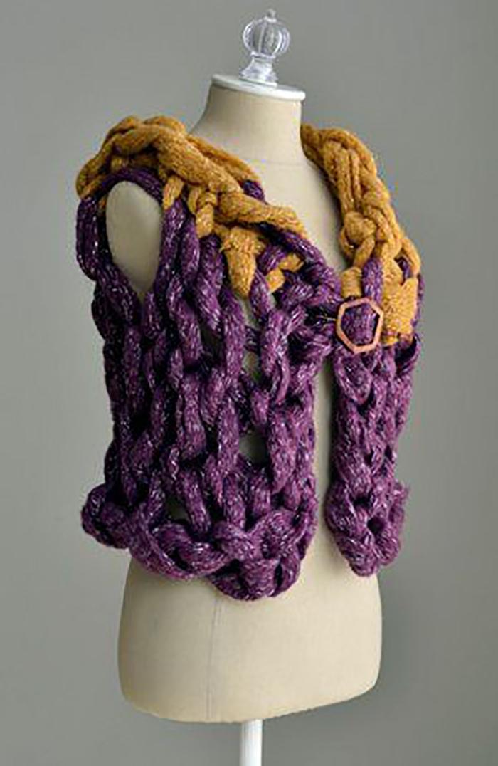 15 minute chunky arm knit vest tutorial