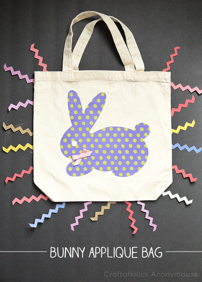 Tote bag with appliqued bunny