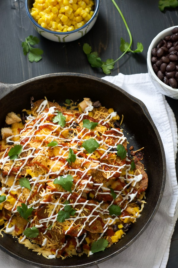 These BBQ Chicken & Sweet Potato Nachos make a quick and easy supper!