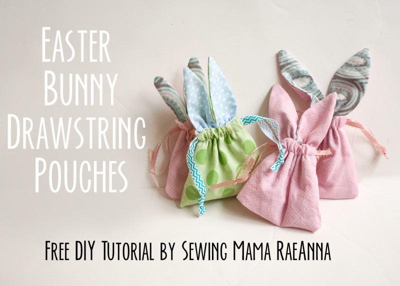 Small Drawstring Pouch with Bunny Ears