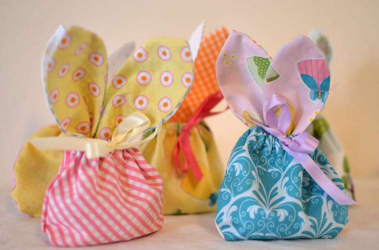 Fabric Easter treat bag with bunny ears