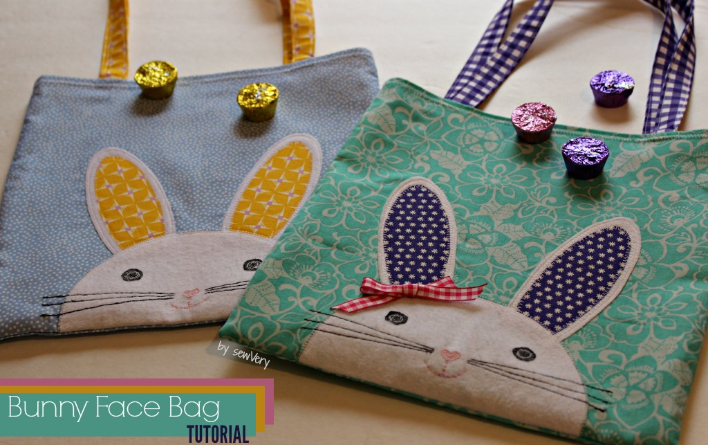 Appliqued bunny face on a tote bag