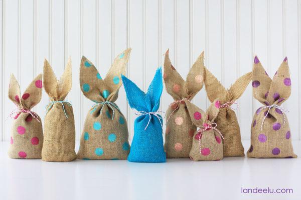 Easy to make bunny bags using burlap