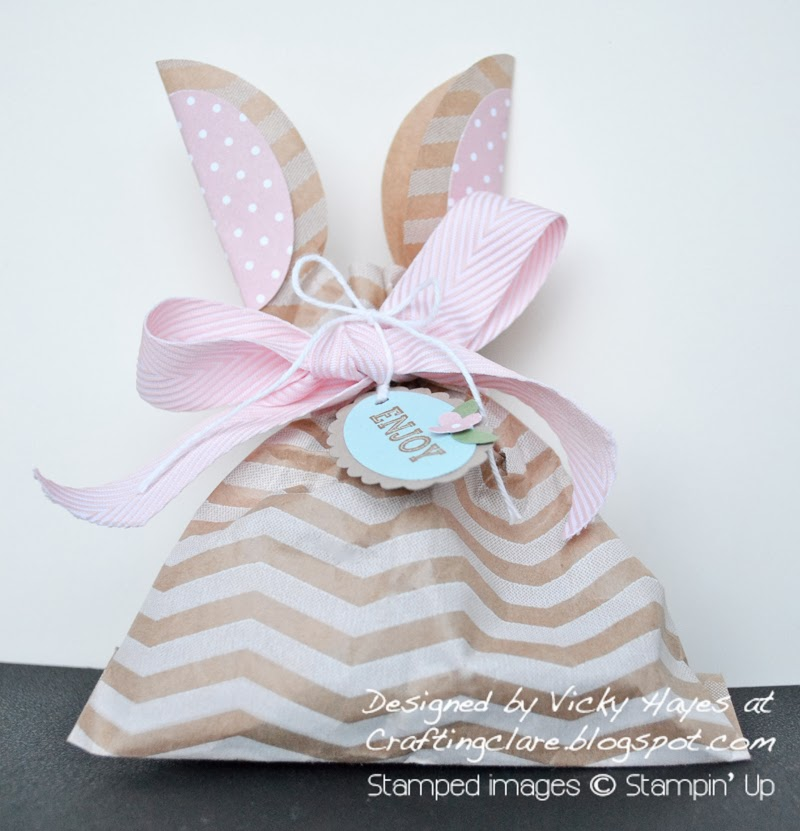 Chevron paper treat bag with cut out bunny ears