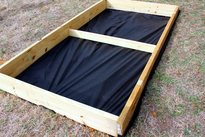 DIY Garden Box--attaching landscape fabric
