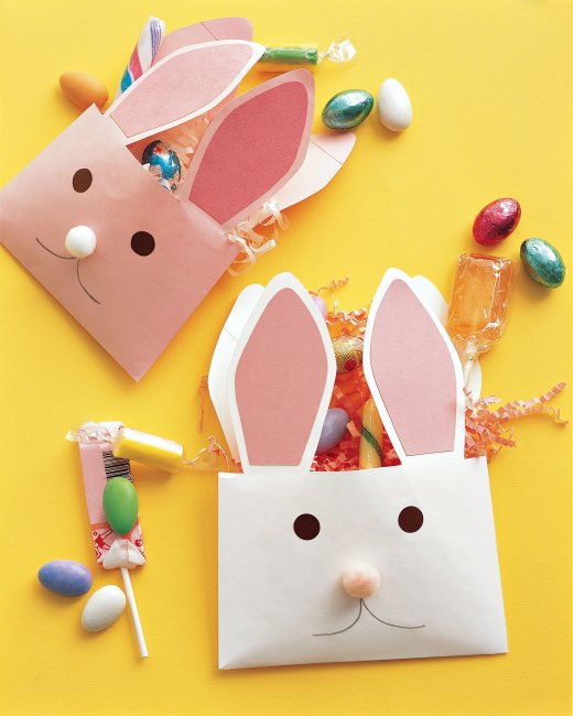Super simple bunny treat bags made with envelopes