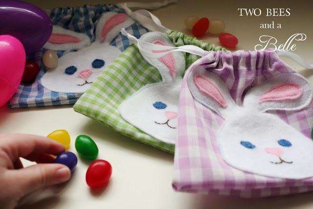 Cute little jelly bean bag with a felt bunny face