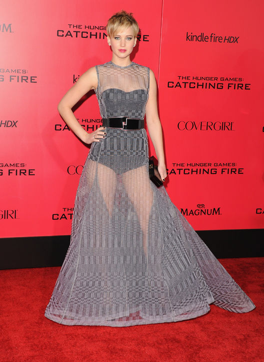 Jennifer Lawrence in a knitted gown