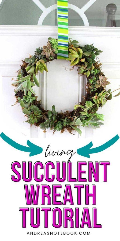 living succulent wreath (green) on white door