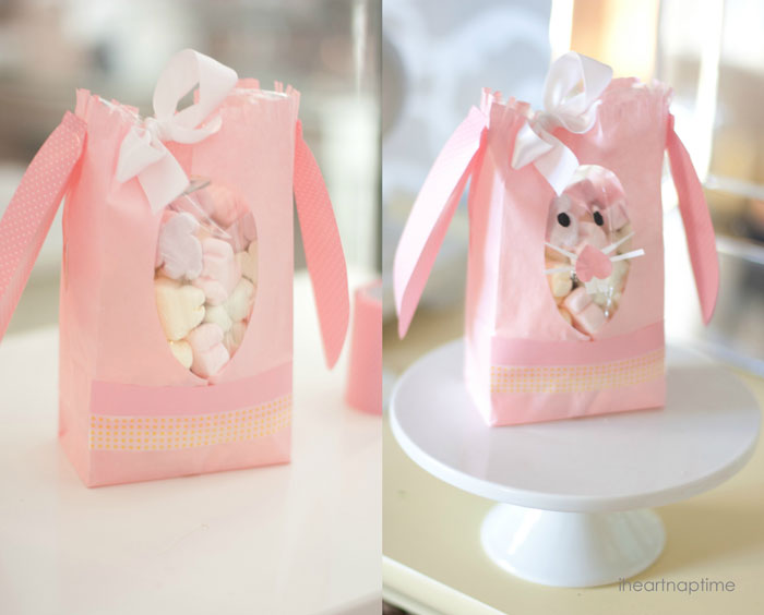 Paper bag bunny with peek-a-boo window