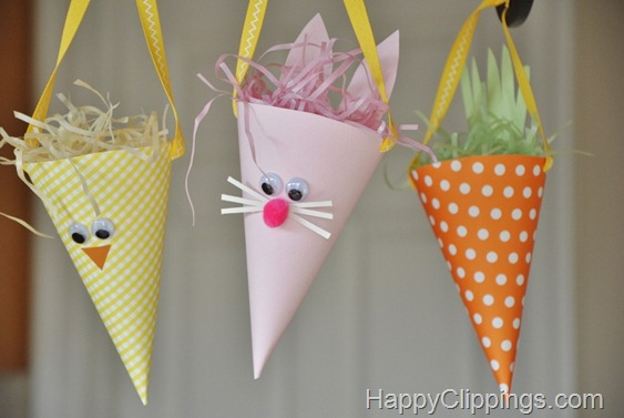 Easy to make paper cone chick, bunny, and carrot treat bags