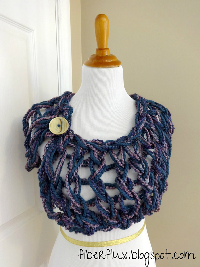 free pattern! Arm knit button shrug