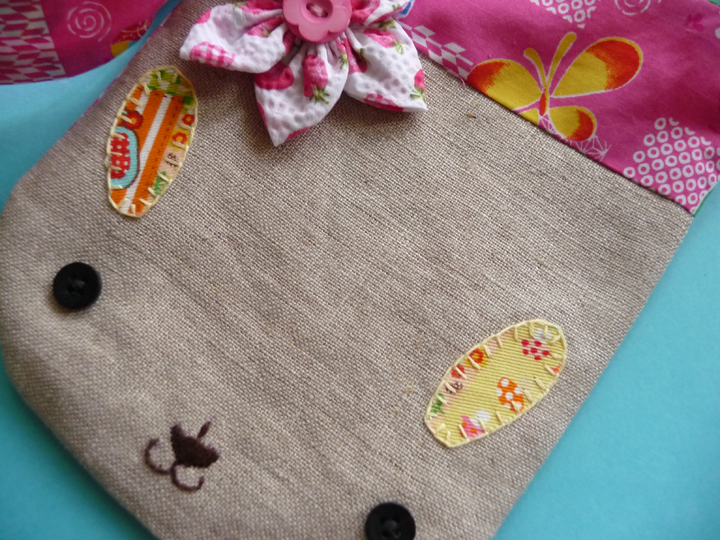 Bunny bag made with fabric scraps and hand embroidered nose and ears