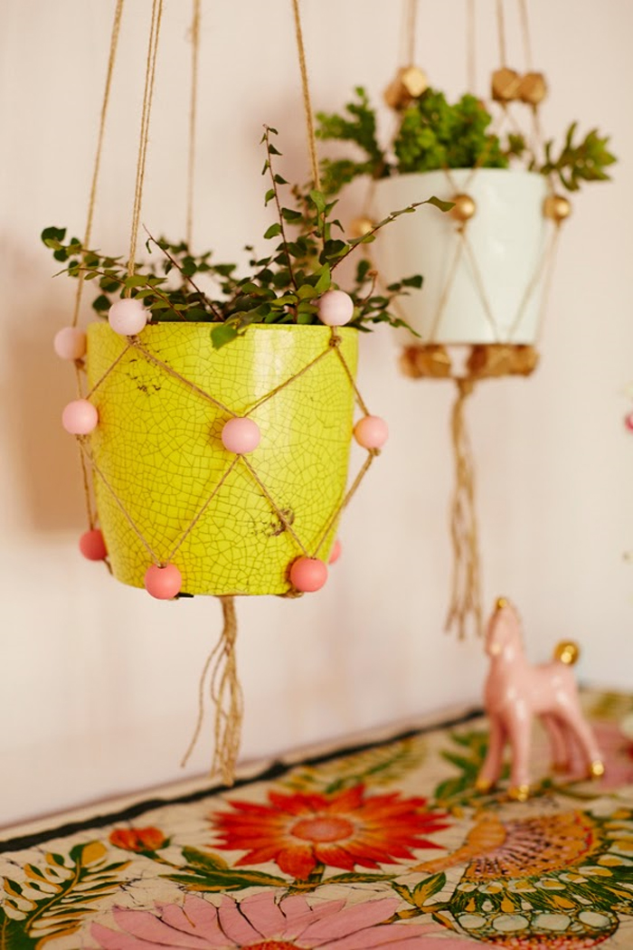 how to make a macrame beaded plant hanger