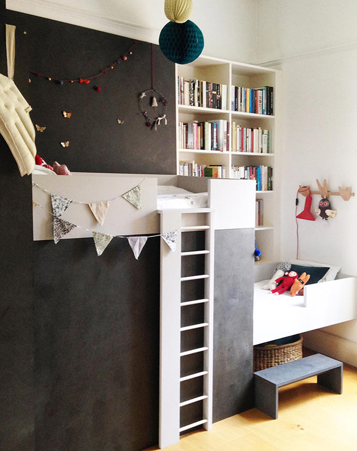 black DIY bunk bed
