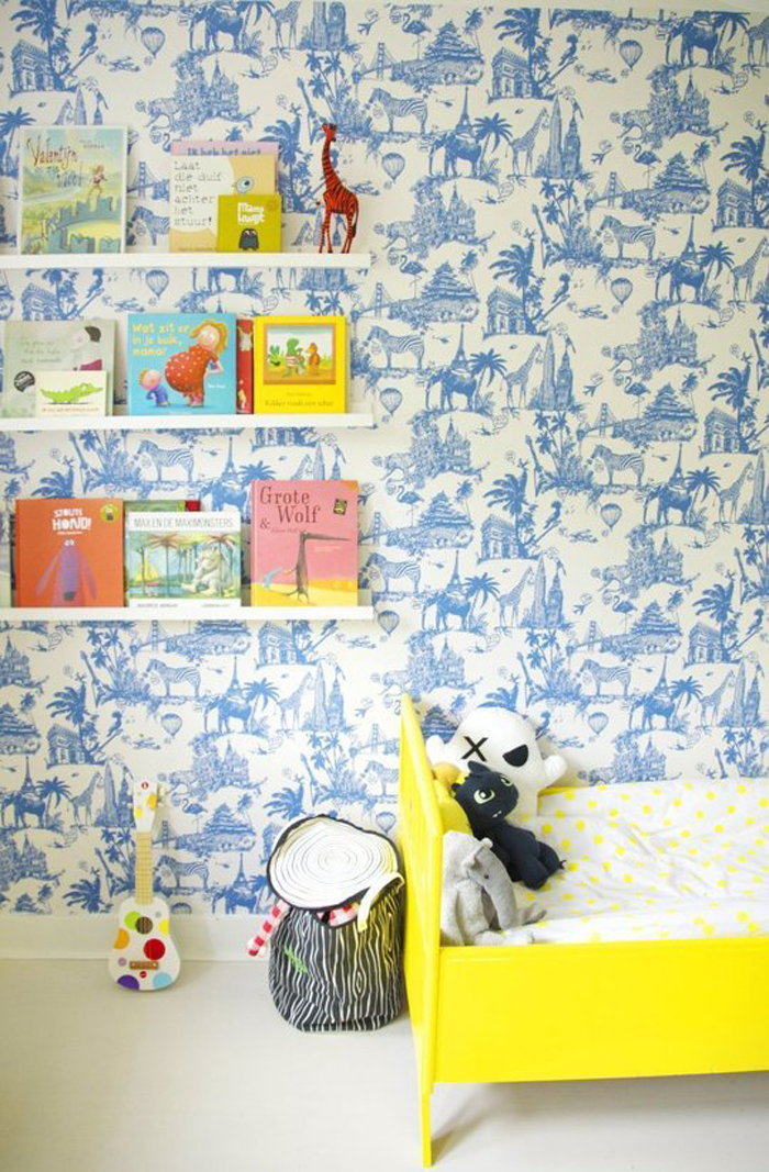 cheerful blue and yellow boy's room