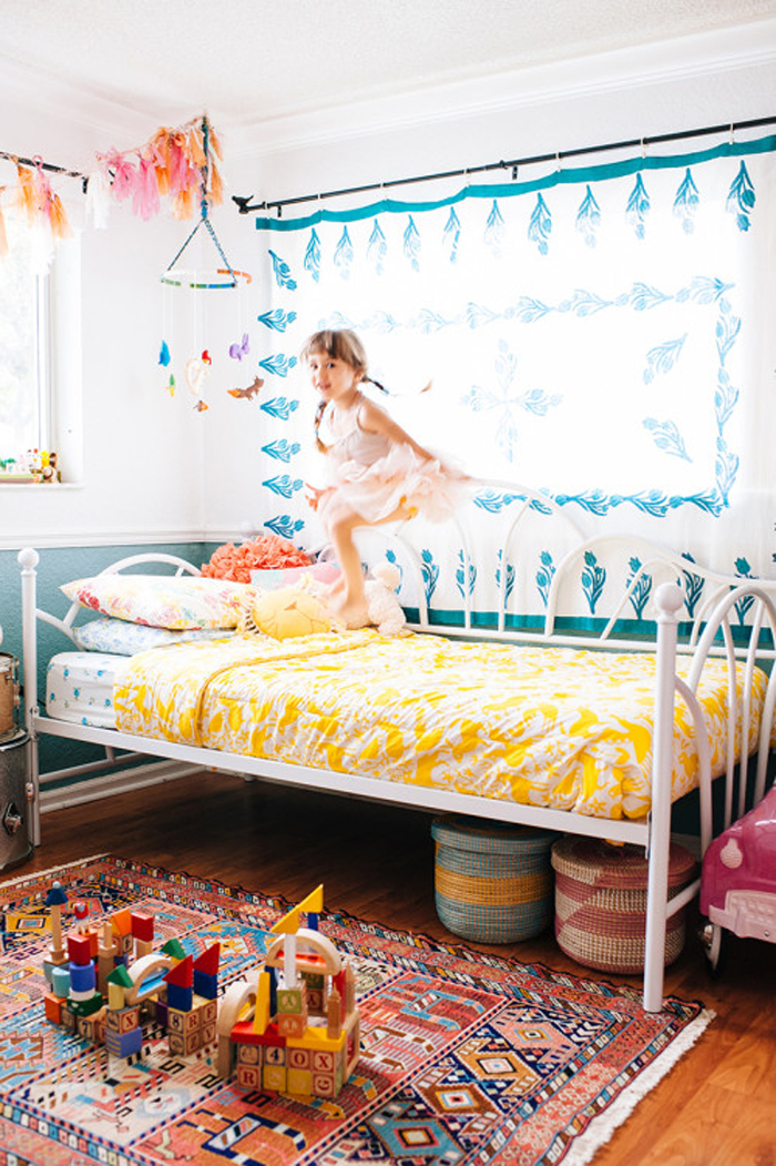 cheerful patterned girl's room