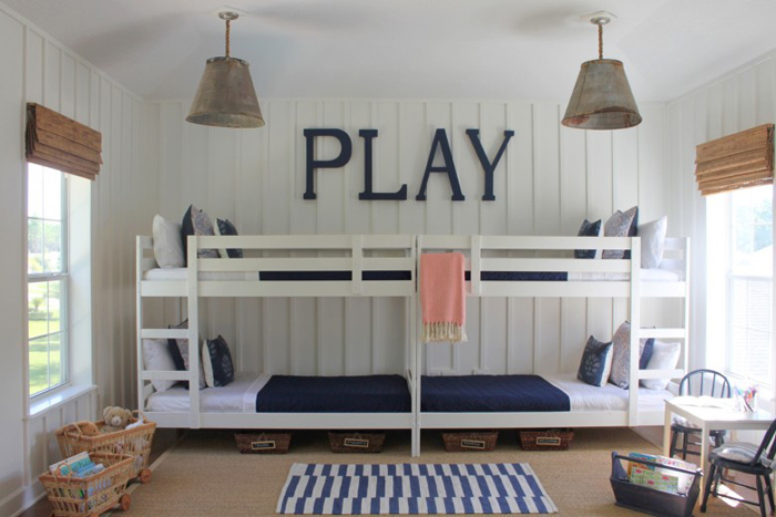 painted IKEA bunk beds for 4!