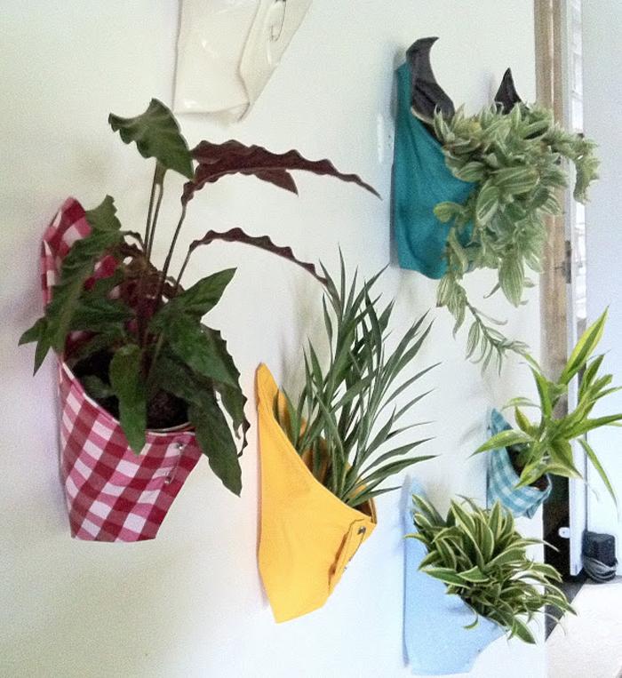 colorful cloth plant holder inspiration