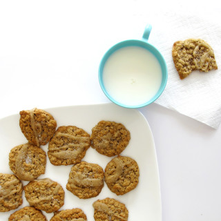 spiced oatmeal cookies with brown butter icing