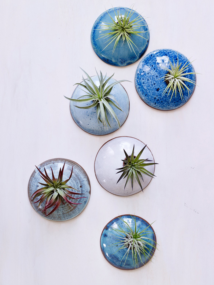 stunning glazed ocean-toned wall planters