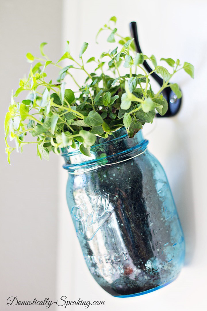 a mason jar herb garden for the kitchen!