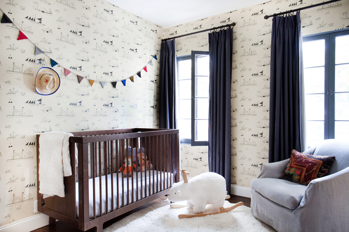 rustic modern nursery with wallpaper